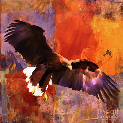 Colorful Eagle Painting - Flying Eagle 01 by Gull G