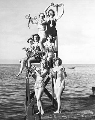 Swimsuit Photograph - Flying Fish At Avalon Bay by Underwood Archives