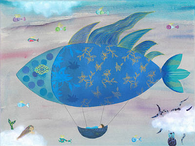 Whimsical Mixed Media Drawing - Flying Fish In Sea Of Clouds With Sleeping Child by Sukilopi Art