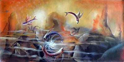 Flying Fishes Original by Arun Sivaprasad