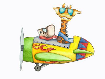 Giraffe Painting - Flying Friends by Mykel Suntrapak