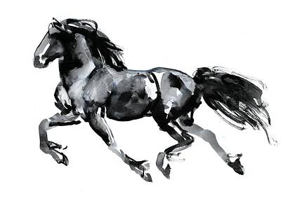 Dressage Art Painting - Flying Friesian by Mark Adlington