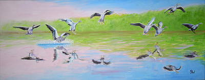 Painting - Flying Geese by Shirley Wellstead