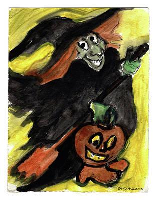 Painting - Flying Giddy Halloween Witch by Katt Yanda