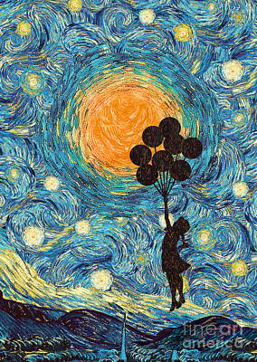Digital Art - Flying Girl With Balloons At Starry Night by Three Second