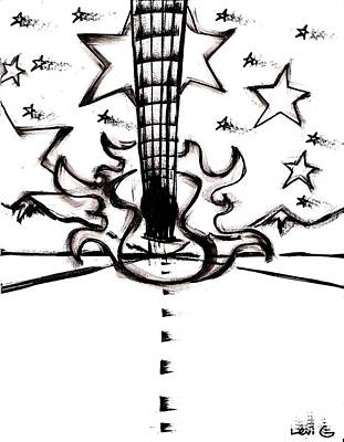 Long Center Drawing - Flying Guitar by Levi Glassrock