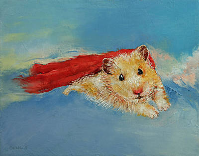 Mouse Painting - Hamster Superhero by Michael Creese