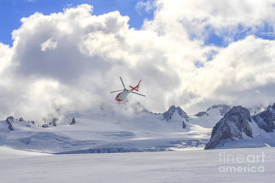 Photograph - Flying Helicopter On Glacier by Patricia Hofmeester