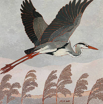 Painting - Flying Heron by Attila Meszlenyi