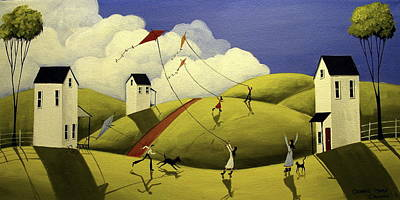 Children Flying Kite Painting - Flying High - Folk Art by Debbie Criswell