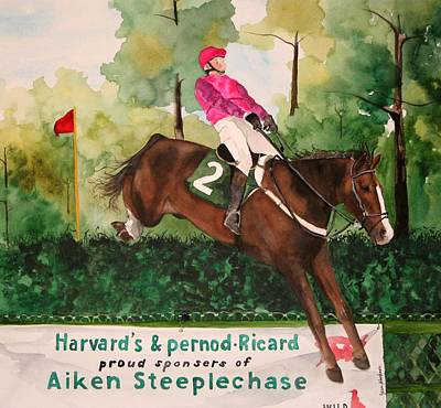 Steeplechase Painting - Flying High by Jean Blackmer