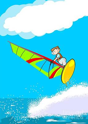 Windsurfing Digital Art - Flying High With The Windsurf Board On The Waves by Daniel Ghioldi
