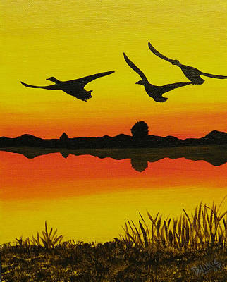 Canadian Geese Painting - Flying Home by Doug Wilkie