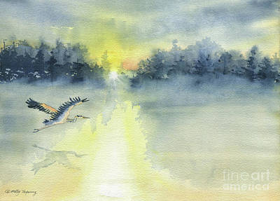 Painting - Flying Home - Great Blue Heron by Melly Terpening