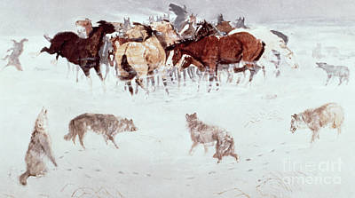 Old West Drawing - Flying Hooves by Charles Marion Russell