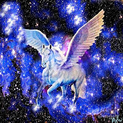 Painting - Flying Horse In The Starry Night Sky by Saundra Myles