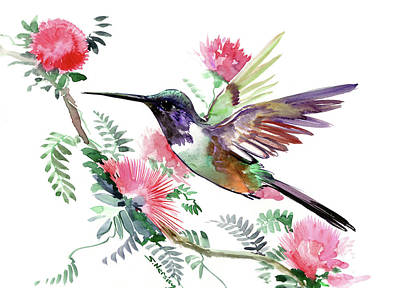 Painting - Flying Hummingbird And Red Flowers by Suren Nersisyan