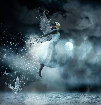 Floating Girl Digital Art - Flying In Your Dreams by Lilia D