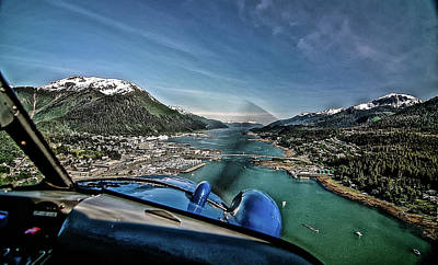 Beaver Mixed Media - Flying Into Juneau by Bob Lynn