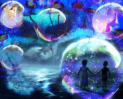 Digital Art - Flying Jellyfish And Magic Orbs by Diana Riukas
