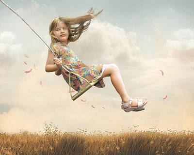 Child Swinging Photograph - Flying by Joel Payne