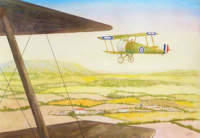 Bi-plane Painting - Flying Like A Bird by David Godbolt