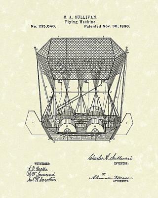 Flight Drawing - Flying Machine 1880 Patent Art by Prior Art Design