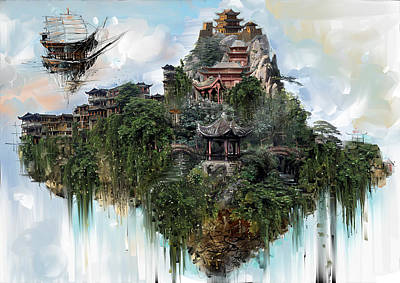 Digital Art - Flying Mountain And Monastery by Fabrizio Uffreduzzi