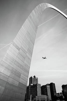 Photograph - Flying Over The Saint Louis City Skyline - Black And White by Gregory Ballos