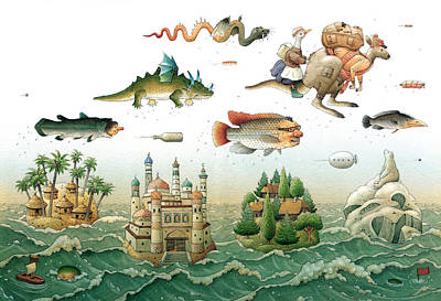 Flying Over The Sea Art Print by Kestutis Kasparavicius