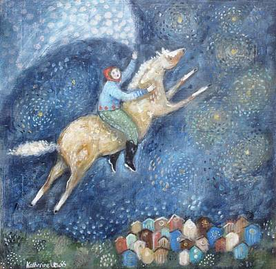 Girl Riding Horse Painting - Flying Over The Town by Katherine Lewis