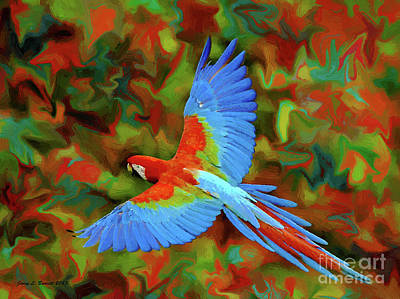 Flying Parrot Art Print