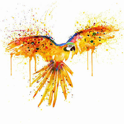 Bird Art Mixed Media - Flying Parrot Watercolor by Marian Voicu