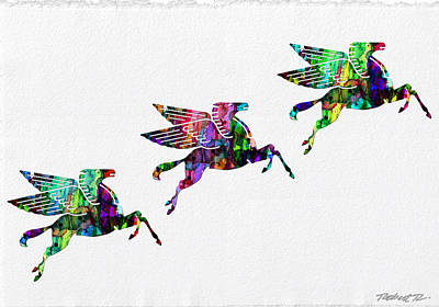 Flying Pegasus Rainbow Art Print