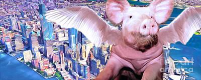 Flying Pig At The New York World Trade Center Painterly 20170925 Long Art Print