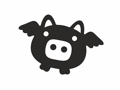 Manga Digital Art - Flying Pig - Black by Julia Jasiczak