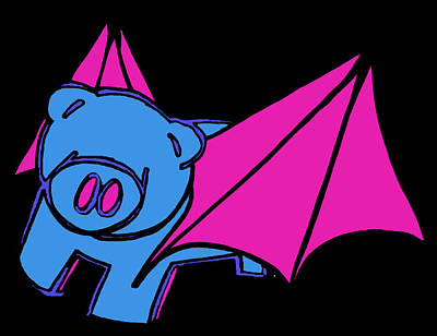 Children Stories Digital Art Drawing - Flying Piggy On Black by Jera Sky