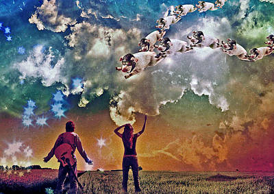 Surrealistic Digital Art - Flying Pigs by Marian Voicu