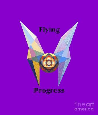 Painting - Flying Progress Text by Michael Bellon