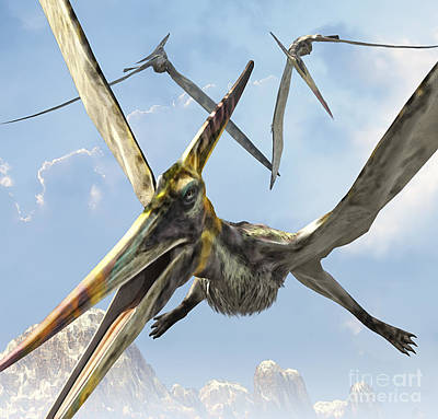 Triassic Digital Art - Flying Pterodactyls Searching For Food by Kurt Miller