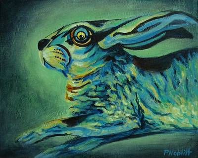 Wall Art - Painting - Flying Rabbit by Paula Noblitt