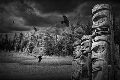 Indian Tribal Art Photograph - Flying Ravens And Totem Poles In Black And White by Randall Nyhof
