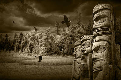 Indian Tribal Art Photograph - Flying Ravens And Totem Poles In Sepia Tone by Randall Nyhof