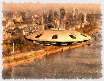 Strange Days Painting - Flying Saucer by Esoterica Art Agency