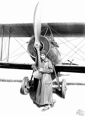 Barnstormer Drawing - Flying Schoolgirl by Lyle Brown