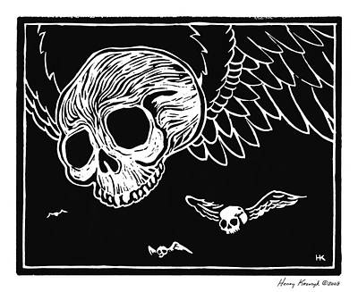 Krauzyk Print - Flying Skulls by Henry Krauzyk