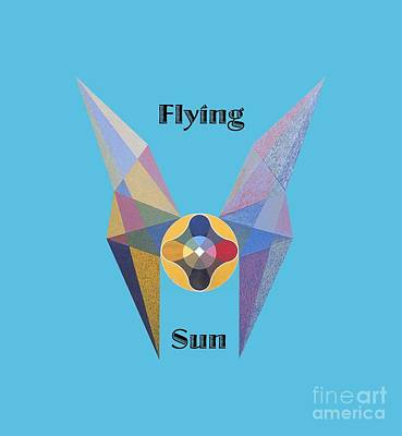 Painting - Flying Sun Text by Michael Bellon
