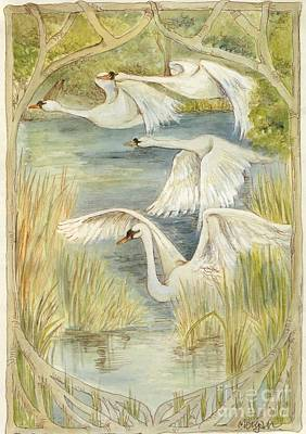 Swan Mixed Media - Flying Swans by Morgan Fitzsimons