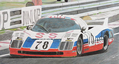 Sportscar Drawing - Flying The Colors by Gustavo Bondoni