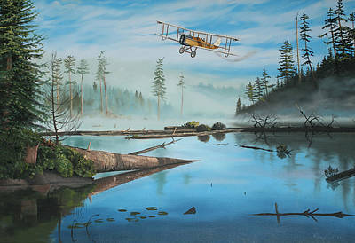 Mist Painting - Flying The Mail by Kenneth Young